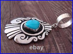 Navajo Indian Jewelry Sterling Silver Turquoise Pendant T & R Singer