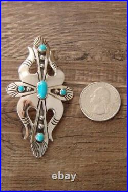 Navajo Indian Jewelry Sterling Silver Turquoise Pin/Pendant by Lee Charley