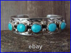 Navajo Indian Jewelry Sterling Silver Turquoise Row Bracelet! Wilbert Meyers