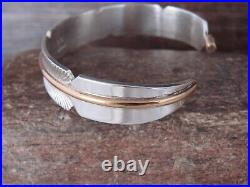 Navajo Indian Sterling Silver Gold Fill Feather Cuff Bracelet Signed Chris Ch