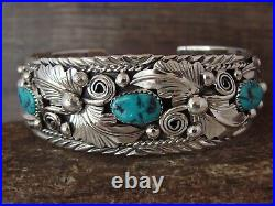 Navajo Indian Sterling Silver Turquoise Bracelet by Henry Attakai
