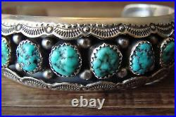 Navajo Indian Sterling Silver Turquoise Stone Row Bracelet Wilbur Myers