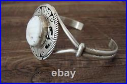 Navajo Indian Sterling Silver White Buffalo Turquoise Bracelet by Eugene Belone