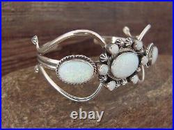 Navajo Indian Sterling Silver White Opal Cuff Bracelet by Danny Kenneth