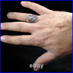 Navajo Large TURQUOISE Indian Chief Sterling Silver MENS Ring SZ 13.5