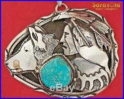 Navajo Native American Dan Nieto Large Turquoise Indian Head&Wolf Pendant