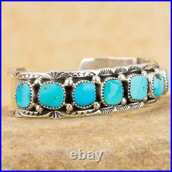 Navajo Native American Sterling Silver Turquoise Nugget Row Bracelet Signed MT