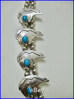 Navajo Sterling Silver Bears Necklace Turquoise Huge Native American Indian