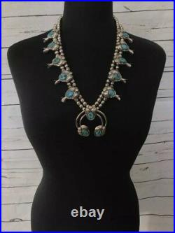 Navajo Turquoise Sterling Silver Native American Indian Squash Blossom Necklace