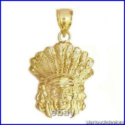 New 14k Gold Indian Chief Pendant