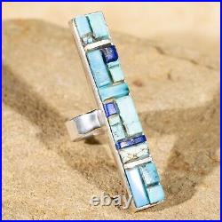 New Navajo Indian Sterling Silver Turquoise&Lapis Rounded Inlay Ring Signed PEB
