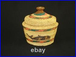 Northwest Nootka Covered Basket, Native American Indian, Circa 1950