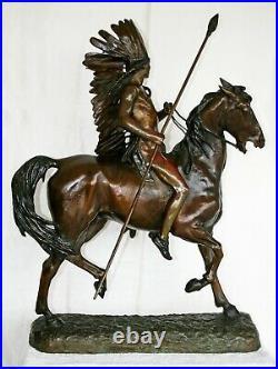 ORIGINAL Alexander Phimister Proctor, HUGE! Bronze Sculpture INDIAN WARRIOR 1898