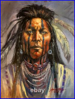 ORIGINAL OIL Painting Native American Indian Warrior CHIEF Sioux WESTERN USA