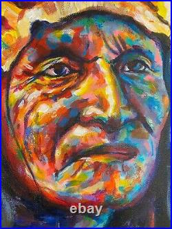 ORIGINAL PAINTING Native American Indian Impressionist style colorful