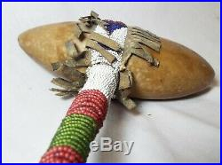 Old Antique NATIVE AMERICAN Indian STONE War Club TOMAHAWK Beaded Handle