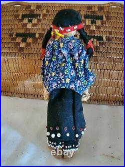 Old Native American Iroquois Indian Beaded Moccasin With Doll