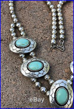 Old Navajo Sterling Silver Gem Grade Turquoise Squash Blossom Dangle Necklace