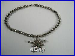 Old Pawn Indian Native American Turquoise star Necklace sterling silver