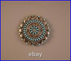 Old Pawn Navajo Indian Silver Piin / Pendant Turquoise Flower Cluster 1 3/4