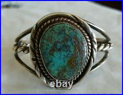 Old Pawn Navajo Native American Indian Becenti Silver Turquoise Cuff Bracelet