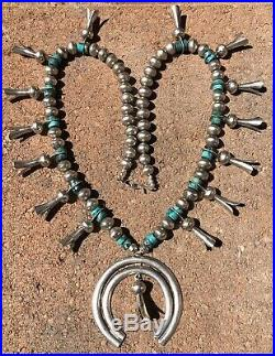 Old Pawn Navajo Sterling Silver Kingman Turquoise Squash Blossom Necklace 28.5