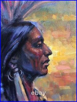 Original Oil Native American Indian CHIEF SUNSET WESTERN ART Santa Fe NM