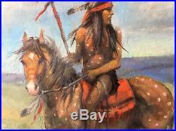 Original Oil Painting APACHE Native American Indian Medicine Horse Western Art