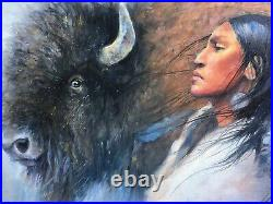 Original Oil Painting BUFFALO INDIAN Woman South Western art Native American