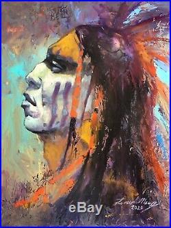 Original Oil painting PAWNEE Native American Indian SANTA FE Western ART WARRIOR