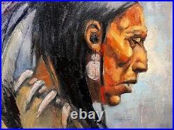 Original Oil painting Warrior Western ART SantaFe Native American Indian BEAR