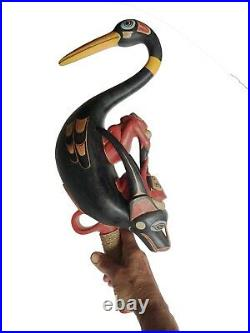Pacific NW Native American Indian Shaman's Oyster Catcher rattle hand carved