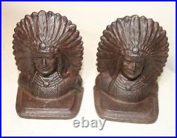 Pair of 2 antique solid cast iron figural Native American Indian Chief bookends