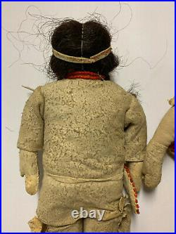 Pair of Antique Native American Indian Beaded Leather Plains Tribe Dolls Rare