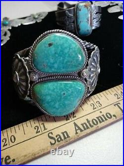Pawn RARE WOW NAVAJO STERLING FRED HARVEY TURQUOISE CUFF 116grams heavy nice