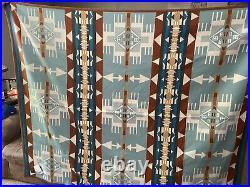 Pendleton Beaver State Hacienda JACQUARD ROBE 64 X 80 Wool Blanket NWTS Aqua