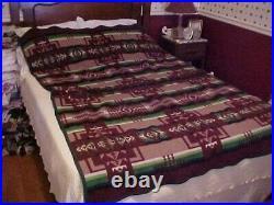 Pendleton Mills Vtg Wool Blanket, Red Brown Green Indian Aztec Native American