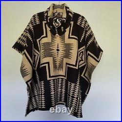 Pendleton Portland Collection Harding Poncho Aztec Boho Hippie Wool Blend