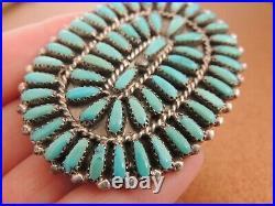 Philena By Joe American Indian Brooch Navajo Sterling Petit Point Turquoise
