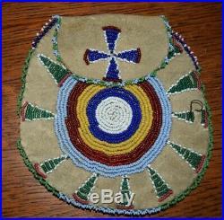 Plains Indian Beaded Buckskin Medicine Tobacco Bag Native American Pre-1950s