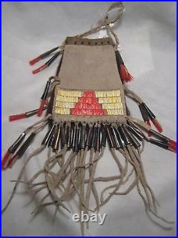 Plains Quilled Medicine Bag, Native American Indian Tobacco Pouch, #port-775