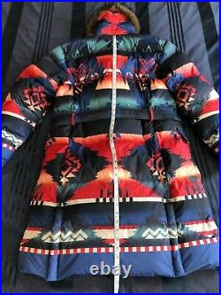 Polo Ralph Lauren MEDIUM Beacon Aztec Print Down Duster Shearling Fur