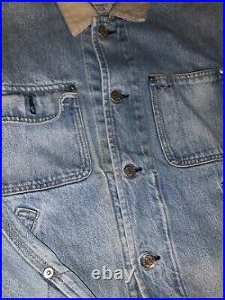 RARE VNTG Polo Ralph Lauren (S) 1992 Denim Indian Chief Corduroy Collar Jacket
