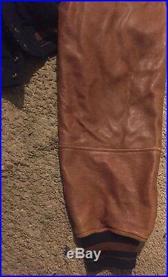 RARE Vtg 90s Original GUESS Indian Native American Leather Wool Varsity Jacket