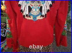 RARE WOW Western Cactus Teepee Indian Chief Headdress Crystal Embroidered Jacket