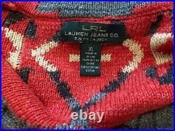 Ralph Lauren Aztec Indian Tribal Southwestern Western Shawl Cardigan Sweater XL