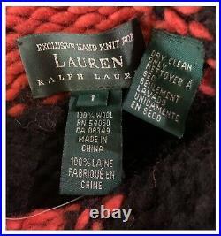 Ralph Lauren Southwestern Native American Wool Blanket Knit Poncho Shawl Sweater