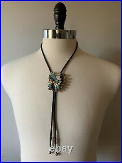 Ralph Quam Zuni Inlay Gemstone Indian Chief Headdress Silver Turquoise Bolo Tie