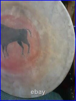 Rare 19th C Native American Plains Indian Buffalo Effigy Ceremonial Drum