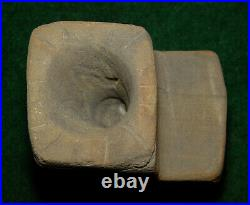 Rare Native American Indian Mississipian or Woodland Period Stone Incised Pipe